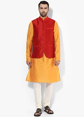 Red N Yellow Benarasi Cotton Silk Bandi Set