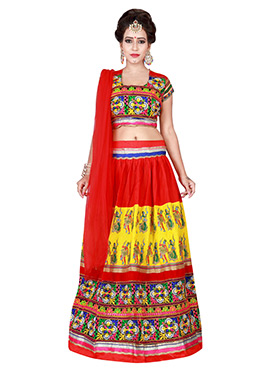 Red N Yellow Cotton Chaniya Choli