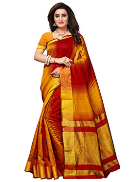 Red N Yellow Cotton Silk Saree
