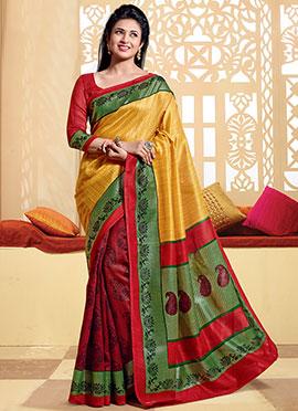 Red N Yellow Divyanka Tripathi Half N Half Saree