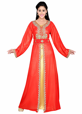 Red N Yellow Georgette Embellished Center Slit Fus