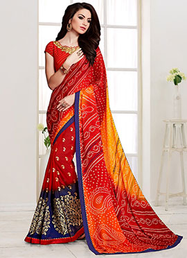 Red N Yellow Georgette Saree