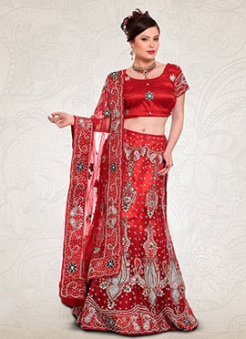 Red Net A Line Lehenga Choli
