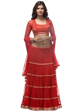 Red Net A Line Tiered Lehenga Choli