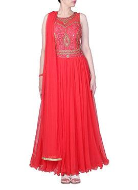 Red Net Ankle Length Anarkali Suit