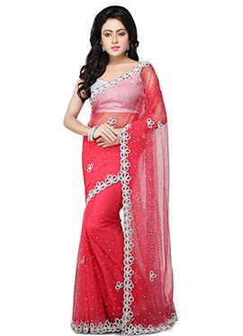 Red Net Embellished Saree