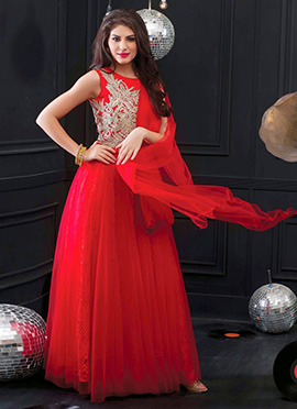 Red Net Flared Gown