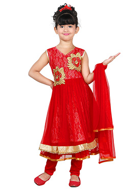 Red Net Kids Anarkali Suit