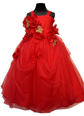 Fayon Red Net Kids Butterfly Gown