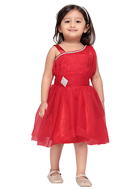 Red Net Kids Dress