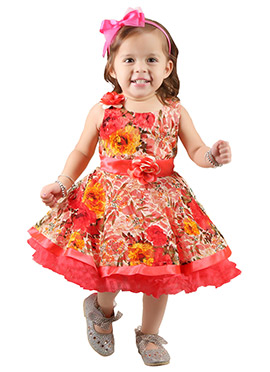 Red Net Kids Gown