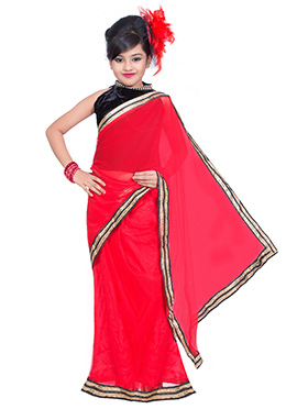 Red Net Kids Saree