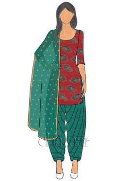 Red Net N Aqua Green Mogra Silk Patiala suit
