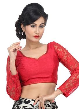 Red Net N Art Silk Blouse