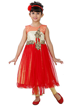 Red Net N Cotton Kids Anarkali Suit