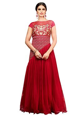 Red Net N Crepe Anarkali Gown