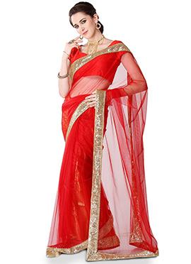 Red Net Sequins Embellished Border Saree