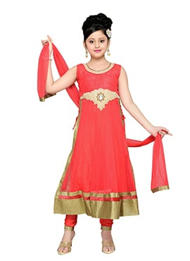 Red Net Teens Palazzo Suit