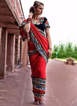 Red Nilam Silk Border Saree