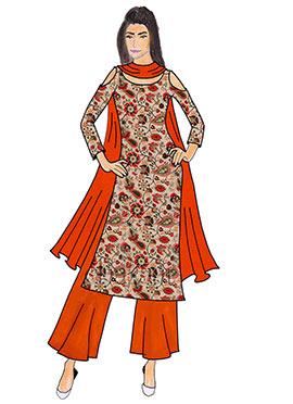 Red Orange Taffeta Palazzo Suit