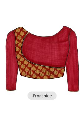 Red Overlapping Brocade Blouse