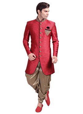 Red Patiala Style Sherwani