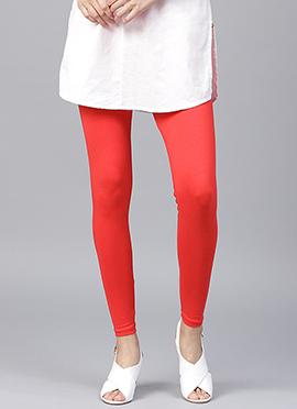 Red Plain Leggings