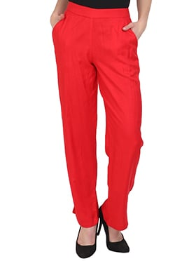 Red Plain Straight Pant