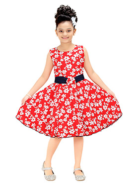 Red Polyester Kids Gown