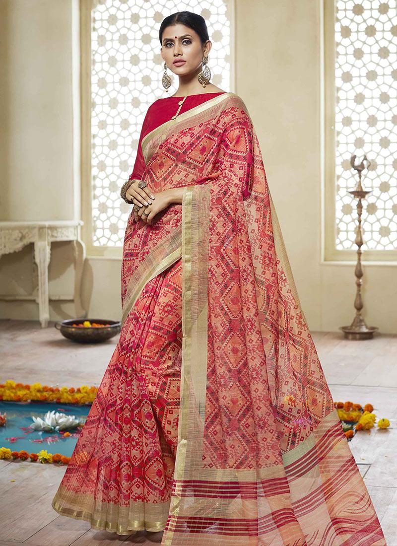 10203edcbe Buy Red Printed Art Silk Cotton Saree, Printed, sari Online Shopping ...
