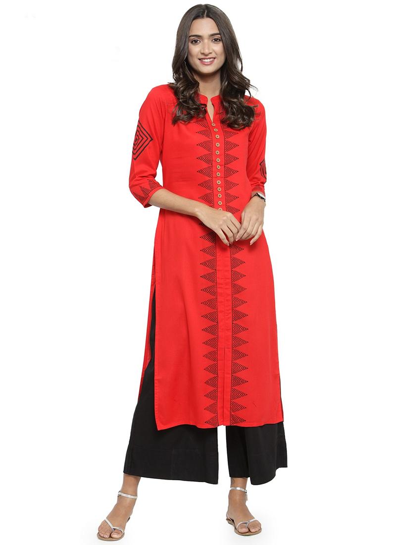 ba0f5c2e2d Buy Red Printed Kurti, Printed, knee length kurti Online Shopping ...