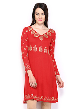 Red Printed Short Kurti