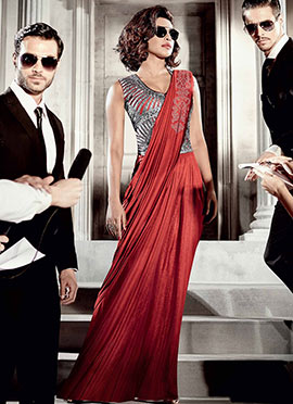 Red Priyanka Chopra Saree Gown