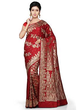 Red Pure Benarasi Silk Half N Half Saree