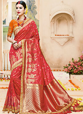 Red Pure Benarasi Silk Saree
