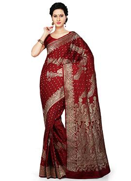 Red Pure Benarasi Silk Saree
