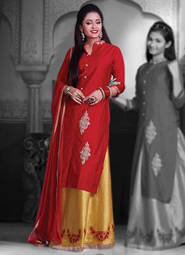 Red Pure Chanderi Silk Long Choli A Line Lehenga