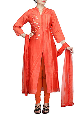 Red Pure Chiffon Churidar Suit