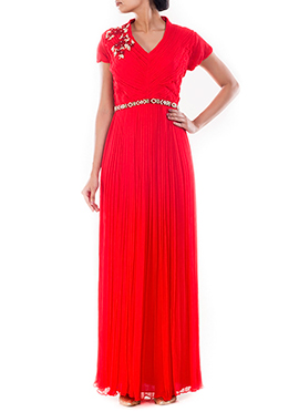 Red Pure Chiffon Gown