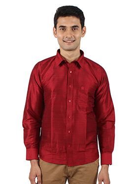 Red Pure Dupion Silk Shirt