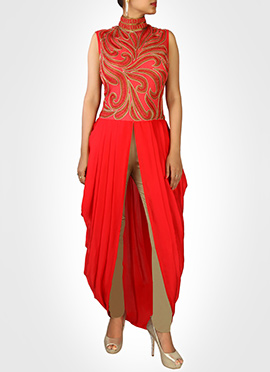 Red Pure Georgette Draped Style Suit