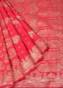 Red Pure Handloom Benarasi Silk Saree