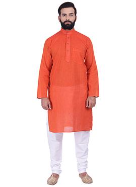 Red Pure Handloom Cotton Kurta Pyjama