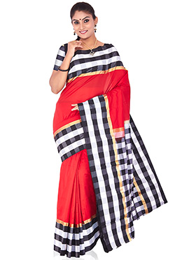 Red Pure Handloom Silk Saree