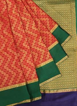 Red Pure Mysore Silk Saree