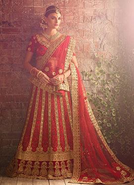 Red Pure Raw Silk A Line Lehenga Choli