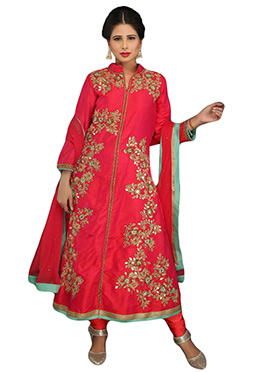 Red Pure Raw Silk Anarkali Suit