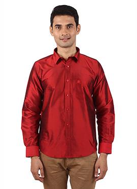 Red Pure Raw Silk Shirt