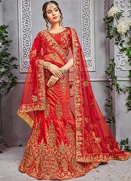 Red Pure Silk A Line Lehenga