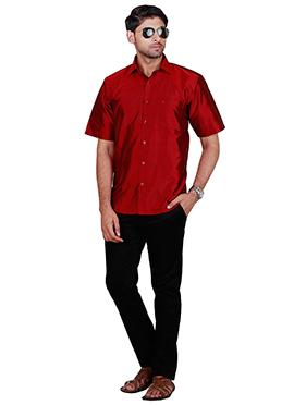 Red Pure Silk Classic Shirt